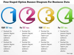 1214 Four Staged Option Banner Diagram For Business Data Powerpoint Template