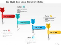 1214 Four Staged Option Banner Diagram For Data Flow Powerpoint Template