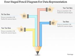 1214 Four Staged Pencil Diagram For Data Representation Powerpoint Template