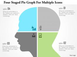 1214 Four Staged Pie Graph For Multiple Icons Powerpoint Template