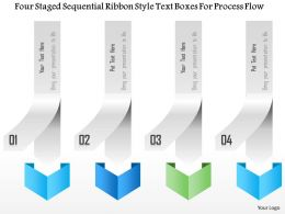 1214 Four Staged Sequential Ribbon Style Text Boxes For Process Flow PowerPoint Template