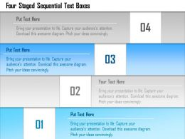 1214 Four Staged Sequential Text Boxes PowerPoint Template