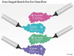 1214 Four Staged Sketch Pen For Data Flow Powerpoint Template