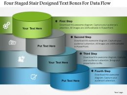 1214 Four Staged Stair Designed Text Boxes For Data Flow PowerPoint Template
