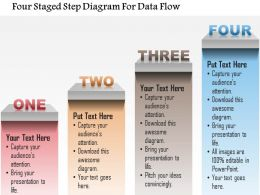 1214 Four Staged Step Diagram For Data Flow Powerpoint Template