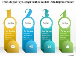 1214 Four Staged Tag Design Text Boxes For Data Representation Powerpoint Template