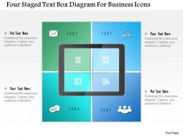 1214 Four Staged Text Box Diagram For Business Icons Powerpoint Template