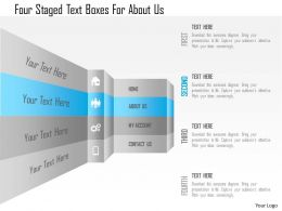 1214 Four Staged Text Boxes For About Us Powerpoint Template