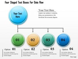 1214 Four Staged Text Boxes For Data Flow Powerpoint Template