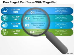 1214 Four Staged Text Boxes With Magnifier Powerpoint Template