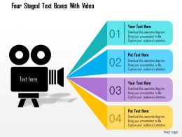 1214 Four Staged Text Boxes With Video Powerpoint Template