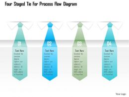 1214 Four Staged Tie For Process Flow Diagram Powerpoint Template