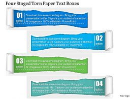1214 Four Staged Torn Paper Text Boxes Powerpoint Template