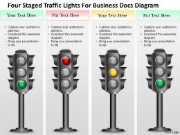 1214 Four Staged Traffic Lights For Business Docs Diagram PowerPoint Template