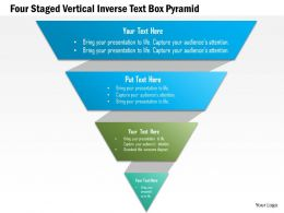 1214 Four Staged Vertical Inverse Text Box Pyramid PowerPoint Template
