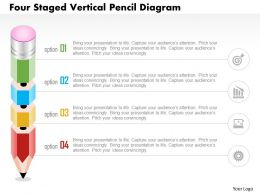 1214 Four Staged Vertical Pencil Diagram Powerpoint Template