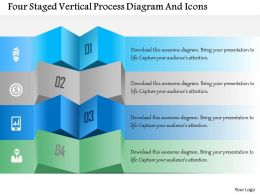 1214 Four Staged Vertical Process Diagram And Icons Powerpoint Template