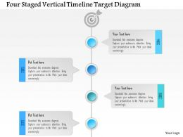 1214 Four Staged Vertical Timeline Target Diagram PowerPoint Template