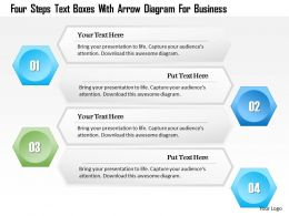 1214 Four Steps Text Boxes With Arrow Diagram For Business PowerPoint Template
