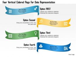 1214 Four Vertical Colored Flags For Data Representation Powerpoint Template