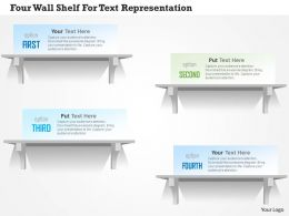 1214 Four Wall Shelf For Text Representation Powerpoint Template