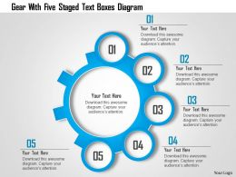 1214 Gear With Five Staged Text Boxes Diagram Powerpoint Template