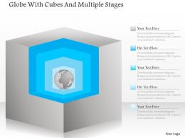 1214 Globe With Cubes And Multiple Stages Powerpoint Template