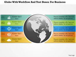 1214 Globe With Workflow And Text Boxes For Business Powerpoint Template