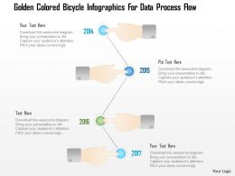 1214 Golden Colored Bicycle Infographics For Data Process Flow Powerpoint Template