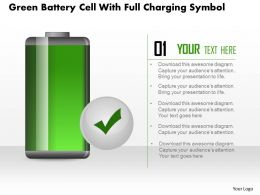 1214 Green Battery Cell With Full Charging Symbol Powerpoint Slide