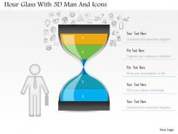 1214 Hour Glass With 3d Man And Icons Powerpoint Slide