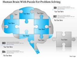 1214 Human Brain With Puzzle For Problem Solving PowerPoint Template