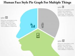1214 Human Face Style Pie Graph For Multiple Things Powerpoint Template