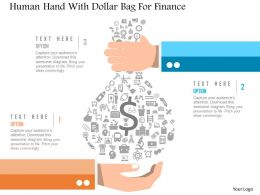 1214 Human Hand With Dollar Bag For Finance Powerpoint Template