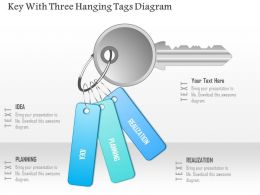 1214 Key With Three Hanging Tags Diagram Powerpoint Template