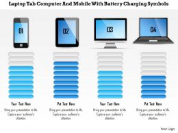 1214 Laptop Tab Computer And Mobile With Battery Charging Symbols Powerpoint Template