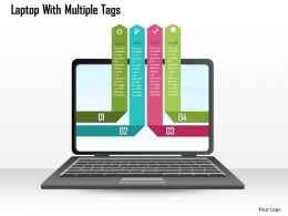 1214 Laptop With Multiple Tags Powerpoint Template