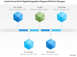 1214 Linear Process Flow Digital Infographics Diagram With Five Hexagon PowerPoint Template