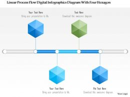 1214 Linear Process Flow Digital Infographics Diagram With Four Hexagon-PowerPoint Template