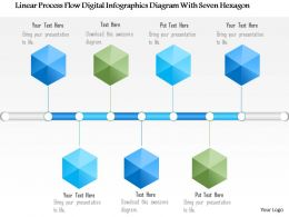 1214 Linear Process Flow Digital Infographics Diagram With Seven Hexagon PowerPoint Template