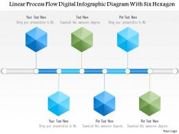 1214 Linear Process Flow Digital Infographics Diagram With Six Hexagon PowerPoint Template