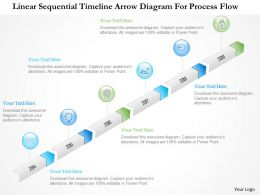 1214 Linear Sequential Timeline Arrow Diagram For Process Flow PowerPoint Template