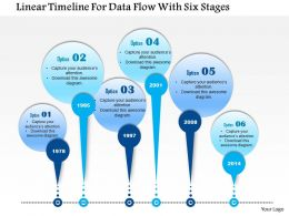 1214 Linear Timeline For Data Flow With Six Stages Powerpoint Template