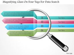 1214 Magnifying Glass On Four Tags For Data Search Powerpoint Template
