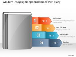 1214 Modern Infographic Options Banner With Diary Powerpoint Template
