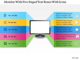 1214 Monitor With Five Staged Text Boxes With Icons Powerpoint Template