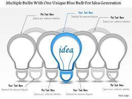 1214 Multiple Bulbs With One Unique Blue Bulb For Idea Generation PowerPoint Template