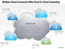 1214 Multiple Clouds Connected With Cloud For Cloud Computing Powerpoint Template