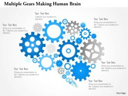 1214 Multiple Gears Making Human Brain Powerpoint Template