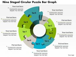 1214 Nine Staged Circular Puzzle Bar Graph PowerPoint Template